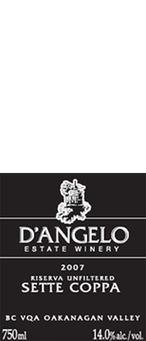 D'Angelo Estate Winery 2007 Riserva Unfiltered Sette Coppa Bottle