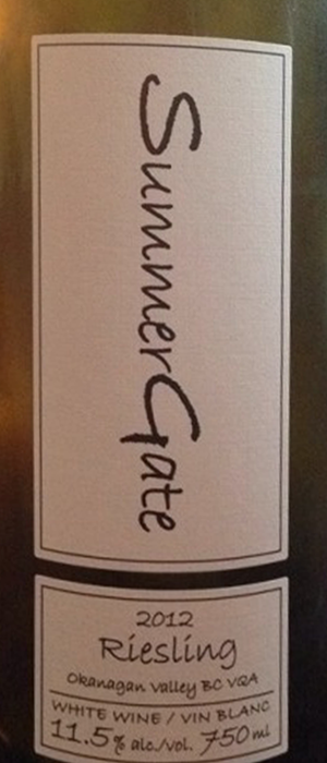 SummerGate 2012 Riesling Bottle