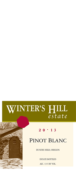 Winter's Hill Vineyard 2013 Pinot Blanc Bottle