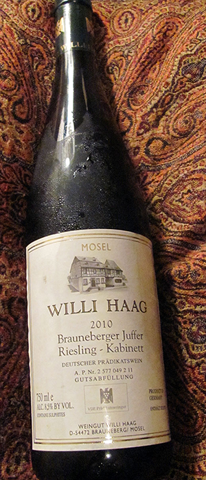Willi Haag 2012 Riesling Bottle