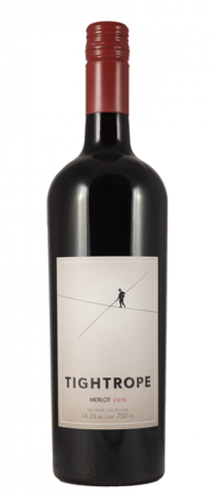 Tightrope Winery 2016 Merlot Bottle