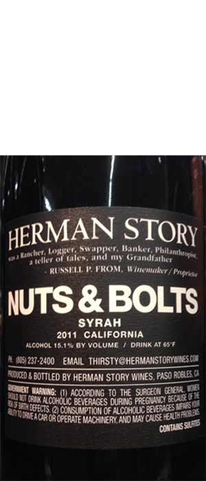 Herman Story Nuts & Bolts 2011 Bottle