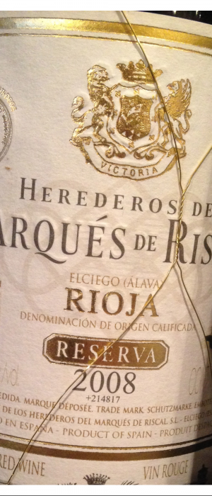 Riscal 2008 Rioja Reserva  Bottle