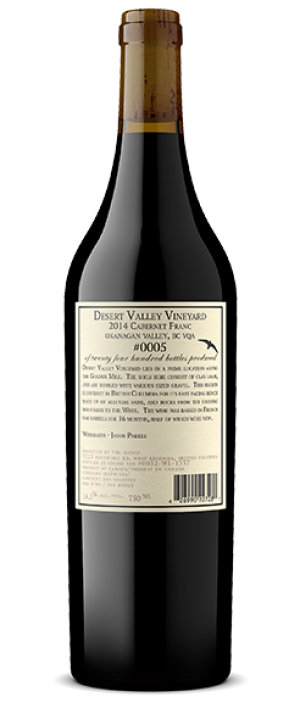 "Black Swift Vineyards 2014 ""Desert Valley VY"" Cabernet Franc Bottle"