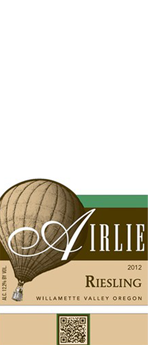 Airlie Winery 2012 Riesling Bottle
