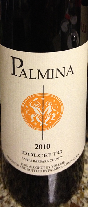 Palmina 2010 Dolcetto Bottle