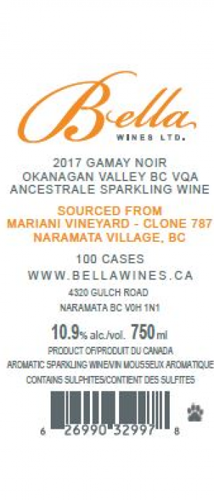 Bella Wines 2017 Gamay Noir Ancestrale Rosé Mariani Vineyard Clone 787 Bottle