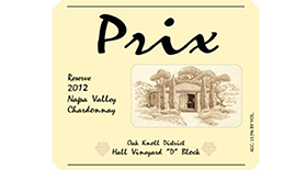 Prix Reserve Chardonnay Hall Vineyard, Oak Knoll Label