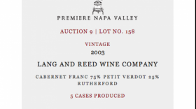 Lang and Reed Wine Company Premiere Napa Valley Auction 9 | Lot No. 158 2003 Cabernet Franc Label