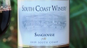 South Coast Winery 2009 Sangiovese Label