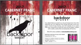 Back Door Winery 2017 Cabernet Franc | Red Wine