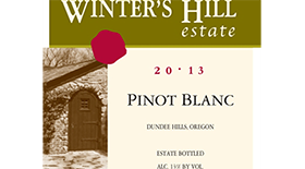 Winter's Hill Vineyard 2013 Pinot Blanc Label