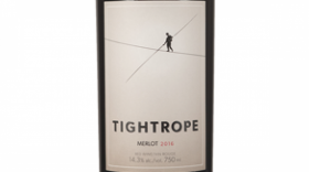 Tightrope Winery 2016 Merlot Label