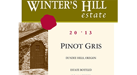 Winter's Hill Vineyard 2013 Pinot Gris (Grigio) Label