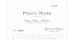Quails' Gate Winery 2008 Pinot Noir Label