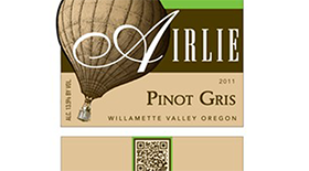 Airlie Winery 2011 Pinot Gris (Grigio) Label