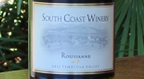 South Coast Winery 2012 Roussanne Label