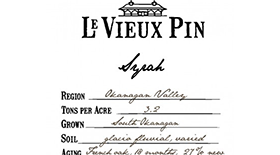 Le Vieux Pin 2011 Syrah (Shiraz) Label